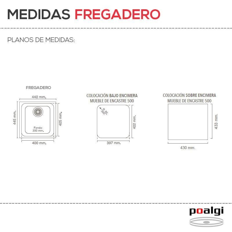 Fregadero resina sint tica 1 seno poalgi gand a 40 - Fregaderos 1 seno ...