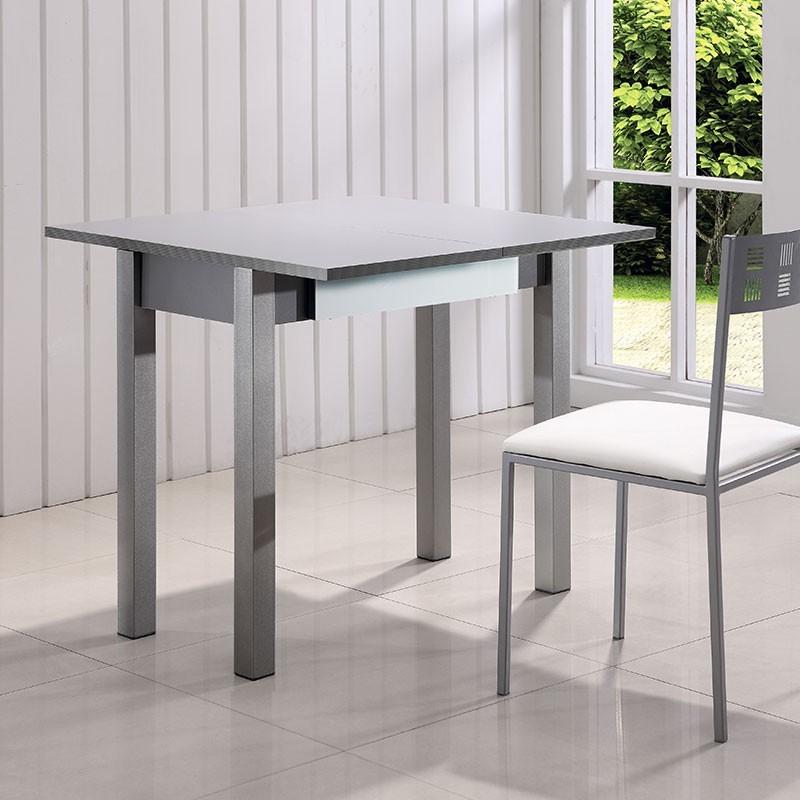 mesa de cocina de cristal de libro extensible de 80 x 40 a