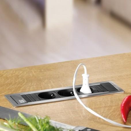 Regleta 3 enchufes power frame para encimera cocina for Regletas de enchufes