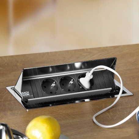 Regleta 3 enchufes ocultos coni para encimera cocina for Regletas de enchufes