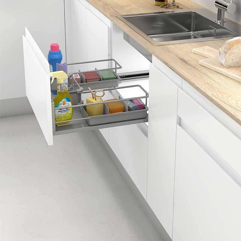 cesto extraible de acero para caj n bajo fregadero de cocina