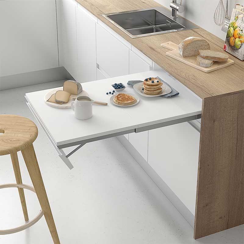 Extraible integrado de frente abatible para mesa de cocina for Mesa abatible cocina