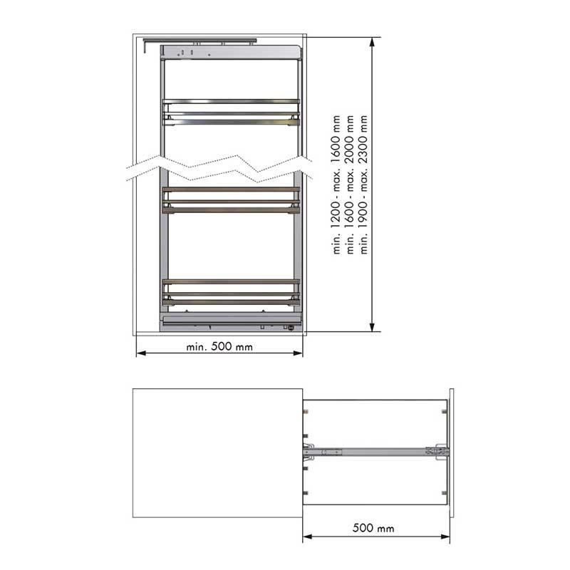 Kit bastidor columna extra ble flat cromo para mueble de for Mueble columna cocina