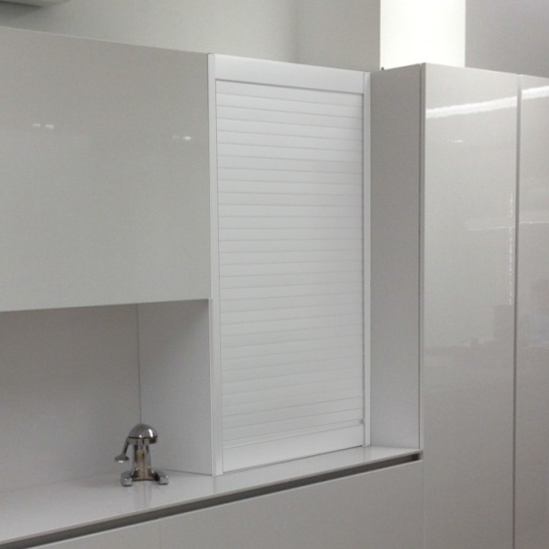 Persiana de aluminio blanco para mueble de cocina for Mueble persiana cocina