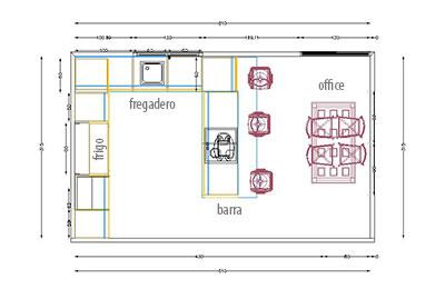 Presupuesto y dise o de cocina en 3d for Medidas de muebles en planta