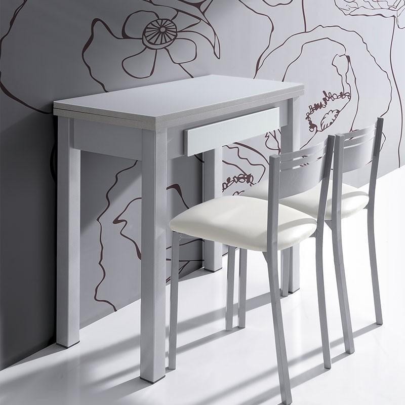 Mesa de cocina de cristal de libro extensible de 80 x 40 a for Mesas de cocina de cristal