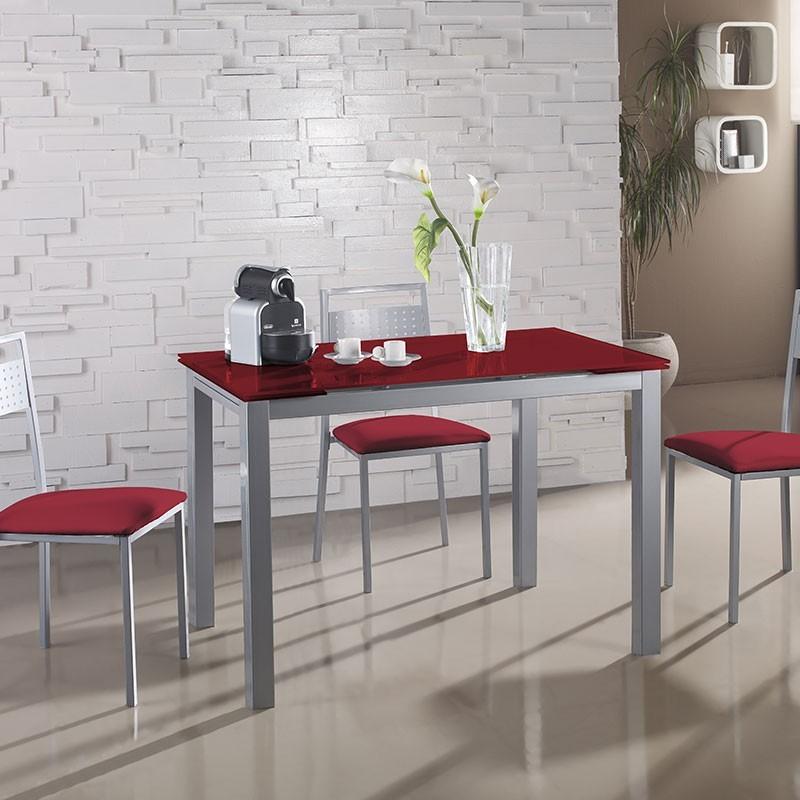 Conjunto mesa cristal extensible y 4 sillas 7938 for Conjunto mesa extensible y sillas cocina