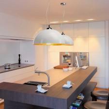 Lámpara Techo Semiesférica E27 40W Look Cromo y Blanco