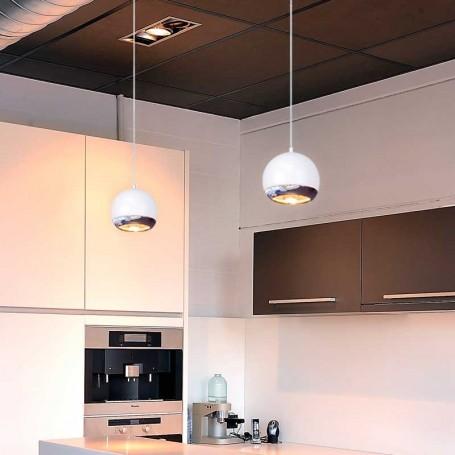 Lámpara Occhi de Techo Halógena GU10 75W Cromo y Blanco
