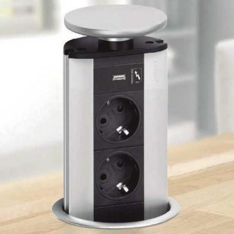 Torre de Enchufes Elevable con 2 Tomas de Red + Puerto USB Evoline