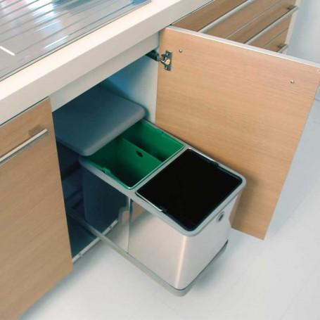 Cubo basura met lico 2 x 10 5 l para mueble cocina de 300 mm for Mueble organizador de 9 cubos