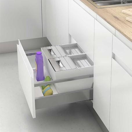 Conjunto de Cubos de Basura para Cajón de Cocina 600/900 mm