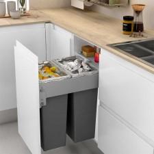Cubo Basura Doble 35 + 35 l con Sistema de Guías para Cocina