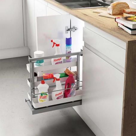 Extraíble Flat Gris Plata para Accesorios de Limpieza en Cocina