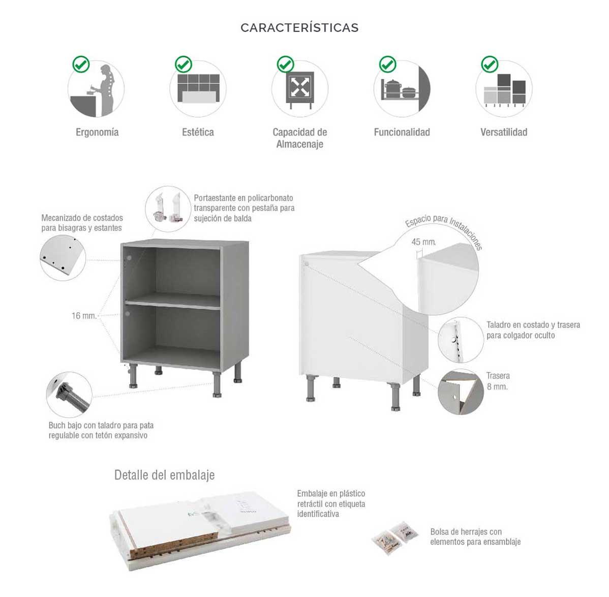 Mueble Bajo Rinconera en L para Cocina en Kit Completo